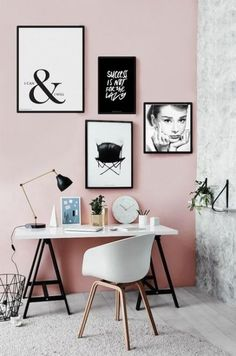 You won't mind getting work done with a home office like one of these. See these 20 inspiring photos for the best decorating and office design ideas for your home office, office furniture, home office ideas Mesa Home Office, Home Office Desks, Office Decor, Office Ideas, Workspace Desk, Office Inspo, Office Walls, Diy Home Decor, Room Decor