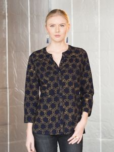 Stella shirt navy | Mata Traders: Ethical Fashion