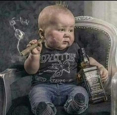 All things Jack Daniel's Cool Baby, Baby Kind, Good Cigars, Cigars And Whiskey, Imagenes Pink Floyd, Funny Kids, Cute Kids, Naughty Kids, Cigar Art