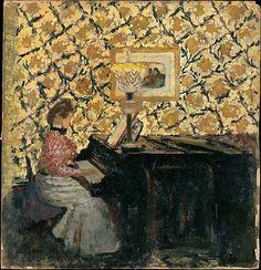 ♪ The Musical Arts ♪ music musician paintings - Jean Edouard Vuillard | Misia Sert Natanson at the Piano, 1895