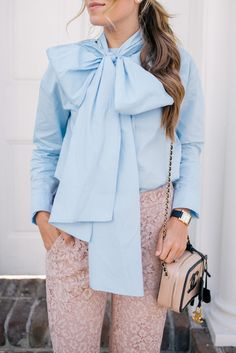 Gal Meets Glam Bows & Lace - Suno top, J.Crew pants, Chanel bag & Hermes watch