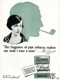 """Datum: 1928 Marke: Tuxedo Tobacco Hersteller: American Tobacco Company Campaign … Date: 1928 Brand: Tuxedo Tobacco Manufacturer: American Tobacco Company Campaign: Pipes Theme: Cigars & Pipes Keywords: Fresh, Fragrance, Woman, Man, Bebe Daniels Quote: """"Th Wooden Smoking Pipes, Tobacco Pipe Smoking, Tobacco Pipes, Vintage Advertisements, Vintage Ads, Celebrity Advertising, 1920s Aesthetic, Bebe Daniels, Silent Film Stars"""