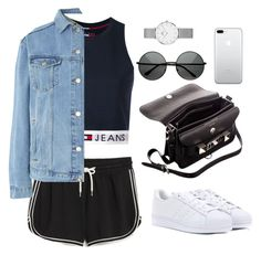 """Untitled #4122"" by magsmccray ❤ liked on Polyvore featuring Monki, Tommy Hilfiger, Topshop, Proenza Schouler, adidas and Daniel Wellington"