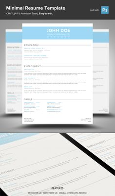 Minimal Resume PSD Template by Mike Moloney on Creative Market
