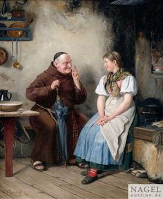 A monk talking to a peasant girl - Paul Felgentreff