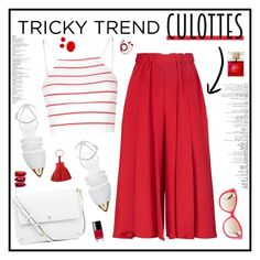 """""""Red Culottes"""" by ellyg91 ❤ liked on Polyvore featuring Victoria Beckham, Glamorous, Jenni Kayne, Tory Burch, Versace, Kate Spade, Chanel, Hermès, FOSSIL and TrickyTrend"""