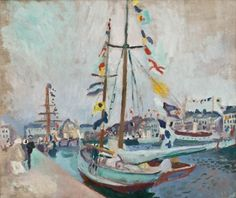 Raoul Dufy - Yacht with Flags at Le Havre, 1904