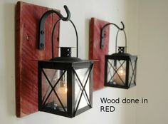 Black Lantern Pair 2 with wrought iron door PineknobsAndCrickets