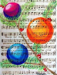 A vintage Christmas - lesson in pastels great collaborative lesson with choir or band. ornaments, shape into form lesson Christmas Art Projects, Spring Art Projects, Noel Christmas, Vintage Christmas, Christmas Music, Christmas Baubles, Christmas Ornament, Christmas Cards, Sheet Music Art
