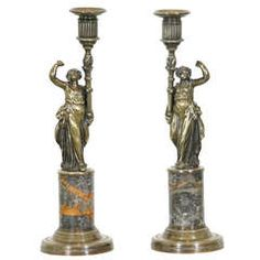 A Pair of French Bronze & Marble Candlesticks