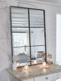 Our loft style window mirror has an antique silver finish and works well in any room around the home. This portrait, six panel industrial mirror works especially well in a hallway or stairwell, and will add light to any space. Wall Mirrors Uk, Window Mirror, Mirror Mirror, Lounge Mirrors, Table Mirror, Metal Mirror, Mirror Ideas, Console Table, Dining Room