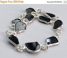 5 Black Diamond Slice Connector Chains 925 Silver by gemsforjewels
