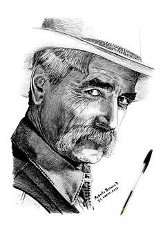 Sam Elliott by RobertoBizama on DeviantArt Portrait Au Crayon, Pencil Portrait, Celebrity Caricatures, Celebrity Drawings, Papa Tag, Sam Elliott, Art Visage, Katharine Ross, Cowboy Art