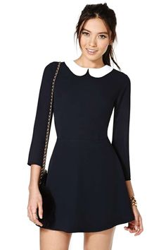 Nasty Gal Wendy Dress - school gal look Wednesday Adams Costume, Wednesday Addams Dress, Wendy Dress, Cute Dresses, Short Dresses, 60s Dresses, Preppy Dresses, Peter Pan Collar Dress, Peter Pan Dress