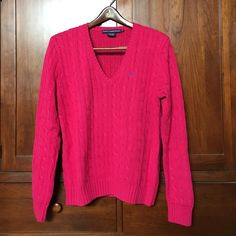 Ralph Lauren Hot Pink Sweater Fabulous. I know I wore it once, folded not hung for storage. 100% cotton. Super quality. Perf layer for chilly summer nights with shorts or cuffed skinny jeans. Like new! Ralph Lauren Sweaters V-Necks