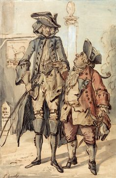 Paul Sandby - Caricature of George Bubb Dodington and Sir Thomas Robinson. 18th Century Clothing, 18th Century Fashion, 19th Century, Google Art Project, 18th Century Costume, History Of England, Treasure Island, Historical Pictures, Character Illustration