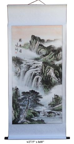 "You are looking at a Chinese hand painted ""Tai Mountain's wonderful view"" motif hanging scroll. Mountain and water view is one of the most important theme in the Chinese ink-wash painting history, and"