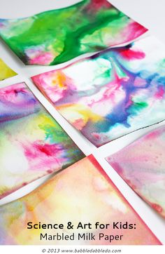 Turn the popular marbled milk science experiment into colorful paper! via @babbledabbledo