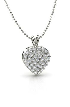 14K White Gold Necklace with Diamond - Brilliant Heart Cluster pendant | Gemvara