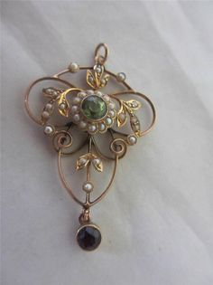 Antique Victorian 9ct Gold Amethyst Peridot Seed Pearl Suffragette Pendant 8735
