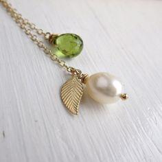 August birthstone necklace peridot birthstone by KGarnerDesigns, $38.00