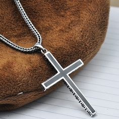"""Men's Sterling Silver Cross Pendant Necklace with Sterling Silver Wheat Chain 18""""-24"""""""