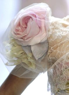Valentino Couture amazing rose inside a sheer puff sleeve! So pretty pricess Belle style!