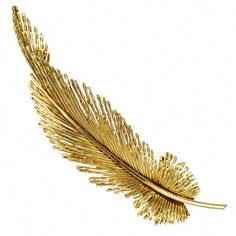 Gold Feather Brooch I have a costume jewelry version Feather Jewelry, Gold Jewelry, Fine Jewelry, Jewellery, Magenta, Antique Jewelry, Vintage Jewelry, Vintage Brooches, Gemstone Brooch