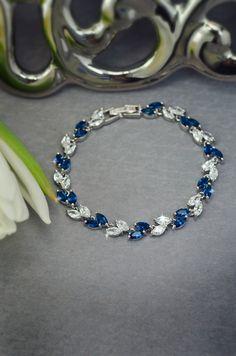 sapphire blue cubic zirconia bracelet, bridal bracelet, wedding cz bracelet, navy blue crystal bracelet by MarinaUA