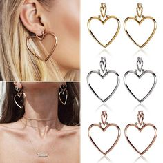 Women Hoop Gold Double Heart Earrings Dangle Hollow Ear Studs Earrings Jewelry Earrings for Women Earrings Set Online with $15.32/Pair on Ywwholesale001's Store | DHgate.com