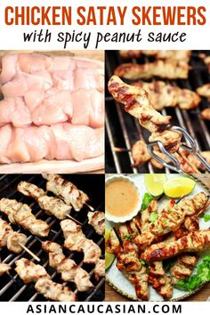 These easy and tender grilled Chicken Satay Skewers with Spicy Peanut Sauce are ridiculously delicious! You'll be addicted to the lightly spicy, slightly tangy dipping sauce! Next time you're cooking out or celebrating spring or summer, reach for this crowd-pleasing chicken satay recipe! Chicken Satay Skewers, Grilled Chicken Tenders, Peanut Dipping Sauces, Spicy Peanut Sauce, Satay Recipe, Asian Recipes, Healthy Recipes, Fusion Food, Party Recipes