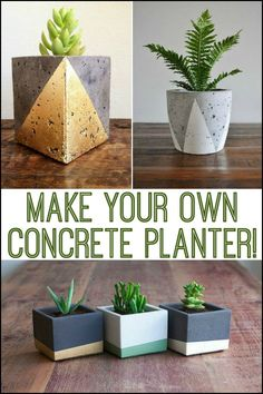 Best 12 Making your own gorgeous concrete planters is easy! Diy Concrete Planters, Concrete Pots, Diy Planters, Planter Pots, Succulent Planters, Succulents Garden, Concrete Crafts, Concrete Projects, Wrought Iron Wall Decor