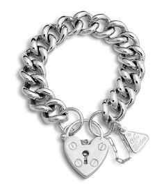 Von Treskow chunky silver breacelet with loveheart
