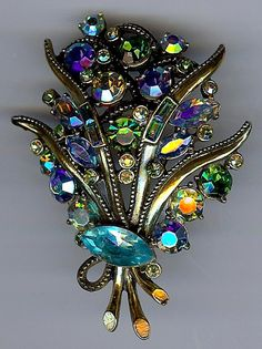 HOLLYCRAFT VINTAGE AURORA BOREALIS BLUE & GREEN RHINESTONE BOUQUET PIN   eBay
