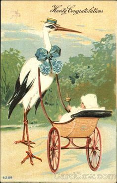 Stork with Baby Carriage Babies