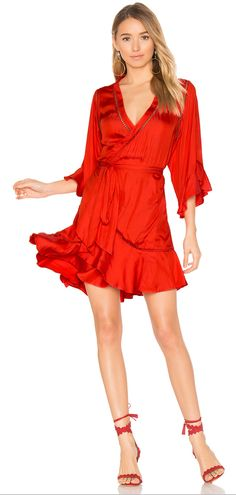 Flirty red wrap dress