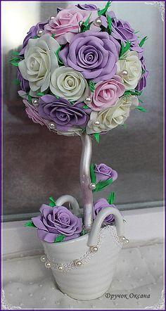 Ксюша Дручок Wedding Centerpieces, Wedding Decorations, Topiary Trees, Rose Tutorial, All Things Purple, Art Floral, Handmade Flowers, Flower Crafts, Artificial Flowers