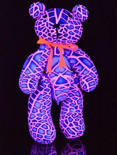"Schwarzlicht Neon Party Buddy Teddy Bär ""Pink Dragonfly"""