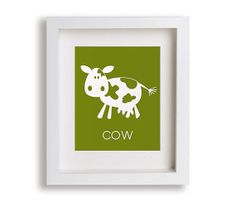 Cow Art Print - Modern Wall Decor for Kids Rooms, Farm Nursery Art Print, Baby's Room Decor, Children Art, Playroom Decor, Farm Animal Art