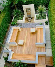 Simple and fresh small backyard garden design ideas Contemporary Garden Design, Small Garden Design, Patio Design, Landscape Design, Garden Modern, Modern Deck, Backyard Designs, Modern Contemporary, Backyard Ideas
