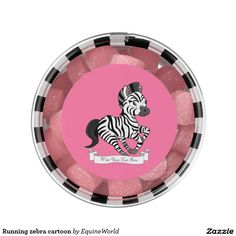 Running zebra cartoon chewing gum favors