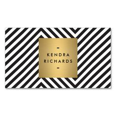 Zazzle.com | Retro Black and White Pattern Gold Name Logo Business Card Templates