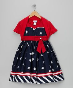 Take a look at this Navy Sailboat Dress & Red Shrug - Toddler & Girls by Jayne Copeland on #zulily today!
