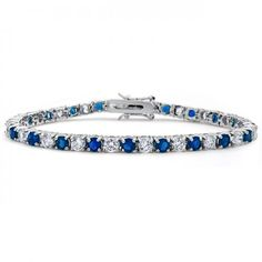 Valentines Day Gifts Bling Jewelry Blue Sapphire Color Silver Tone Cubic Zirconia Tennis Bracelet - This gorgeous tennis bracelet is full of complete elegance. Made of rhodium plated base metal, the piece has a classy polished silver tone look that l Sapphire Color, Sapphire Diamond, Purple Amethyst, Canary Diamond, Sapphire Bracelet, Gemstone Bracelets, Jewelry Bracelets, Jewellery, Diamond Bracelets