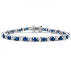 Silver Tone Diamond CZ Blue Sapphire Tennis Bracelet