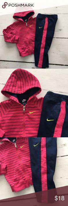 Nike Sweatsuit Adorable two piece cotton zip up Hoody and matching sweatpants. This outfit is hardly worn and in excellent used condition. Pants are elastic waistband with side pockets. Nike Matching Sets
