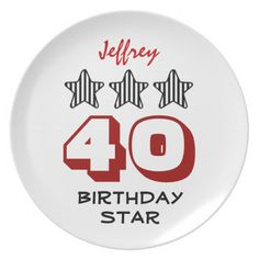 40th Birthday or ANY AGE Striped Stars Custom Name Party Plates   To see more customizable striped Jaclinart gift items:   http://www.zazzle.com/jaclinart+striped+gifts?st=date_created&ps=120  #stripes #striped #pattern #jaclinart #design #create