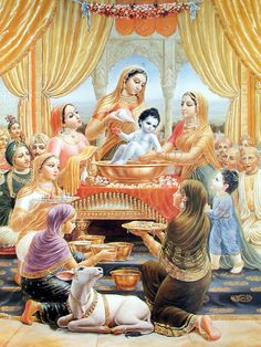 The bathing ceremony of Lord Krsna