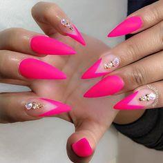 Neon hot pink matte stiletto nails