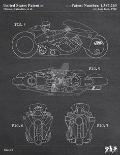 AKIRA - Kaneda's Bike Patent Poster 2 of 3 by jadeedge on DeviantArt Concept Motorcycles, Custom Motorcycles, Bobber Custom, Custom Choppers, Triumph Motorcycles, Motorcycle Design, Bike Design, Girl Motorcycle, Motorcycle Quotes